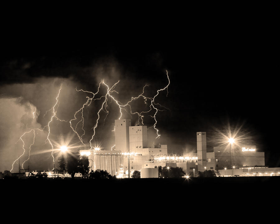 Budweiser Lightning Thunderstorm Moving Out Bw Sepia Crop Photograph  - Budweiser Lightning Thunderstorm Moving Out Bw Sepia Crop Fine Art Print