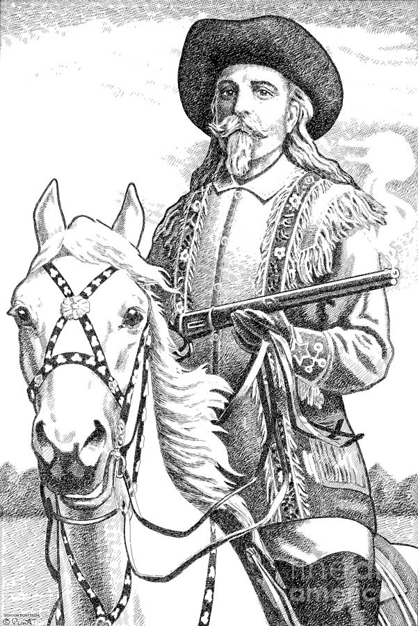 Buffalo-bill-cody Drawing  - Buffalo-bill-cody Fine Art Print