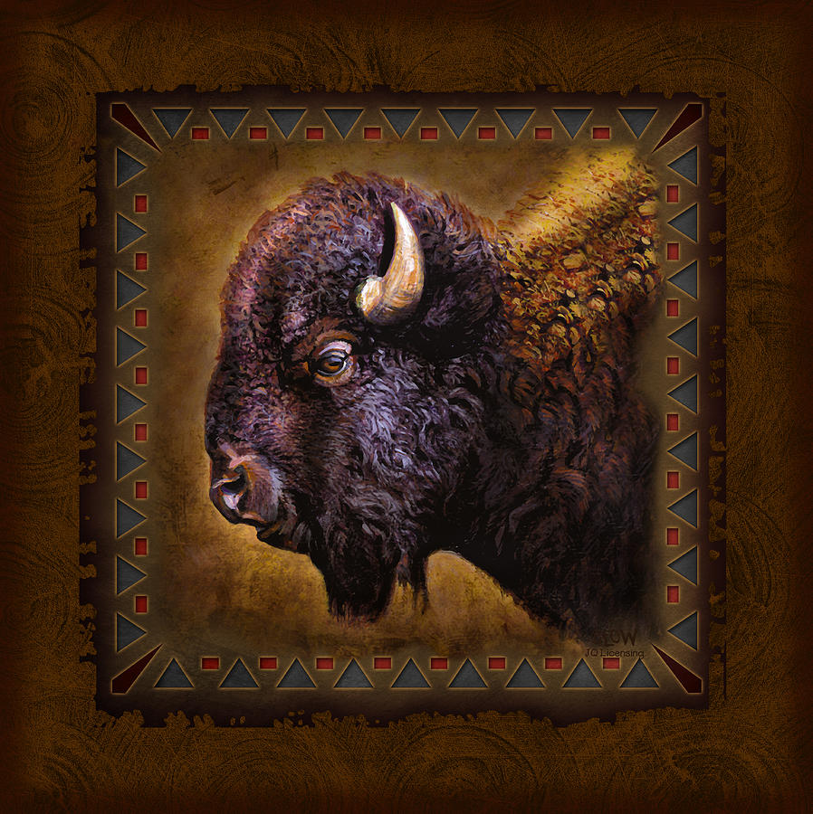 Wildlife Buffalo Lodge Cabin Tribal Adirondack Decorative Western Woodland Joe Low Jq Licensing Jon Q Wright Cub Woodland Outdoors Animal Trees Sporting Art Hunt Hunting Big Game Plains Prairie Grass Lands Badlands Wyoming Montana Utah Dakota  Painting - Buffalo Lodge by JQ Licensing
