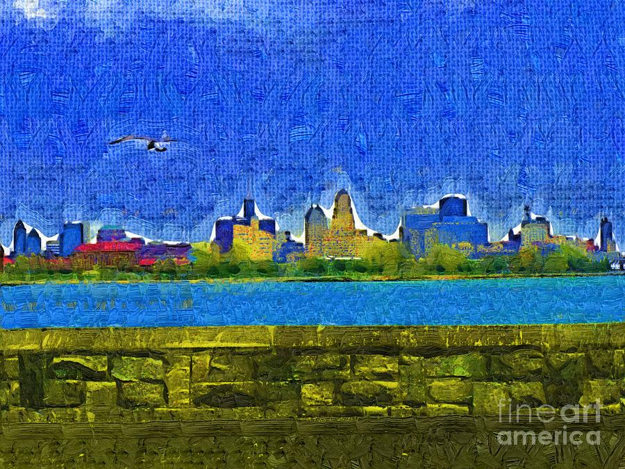 Buffalo Ny Skyline Painting  - Buffalo Ny Skyline Fine Art Print