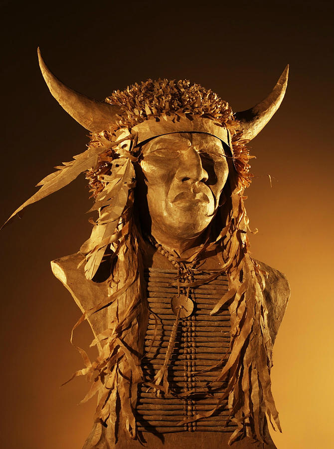 Indian Sculpture - Buffalo Warrior by Monte Burzynski