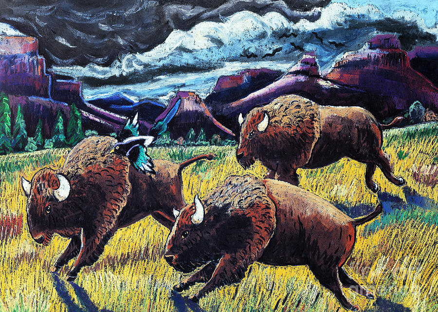 Buffaloes Race The Storm Pastel  - Buffaloes Race The Storm Fine Art Print