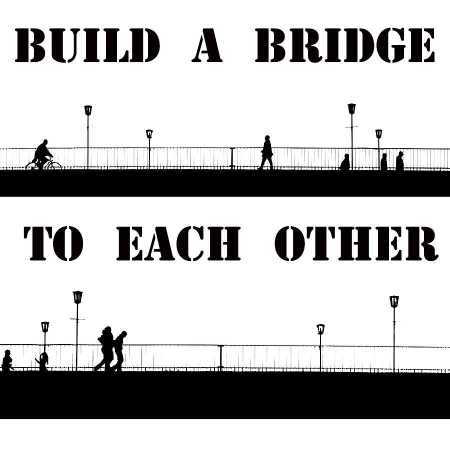 Urban Life City Bridge Bike Bicycle Walk Walking Black White Comic Style Modern Art  Painting - Build A Bridge To Each Other by Steve K