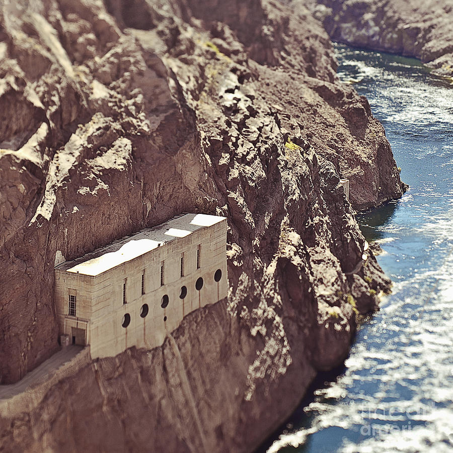 Building Built Into River Valley Cliff Photograph