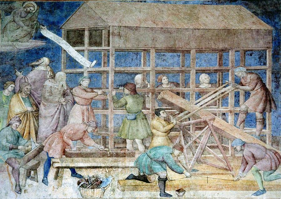 Building Noahs Ark, 14th Century Fresco Photograph