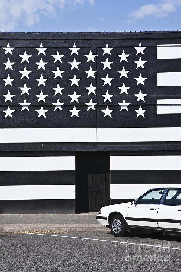 Building With An American Flag Paint Job Photograph