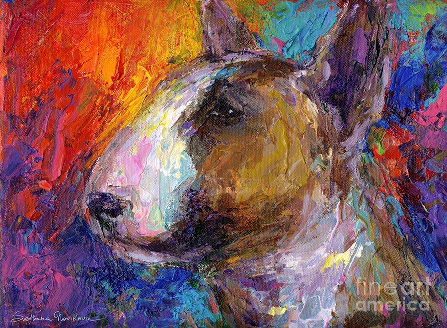Bull Terrier Dog Painting Painting  - Bull Terrier Dog Painting Fine Art Print