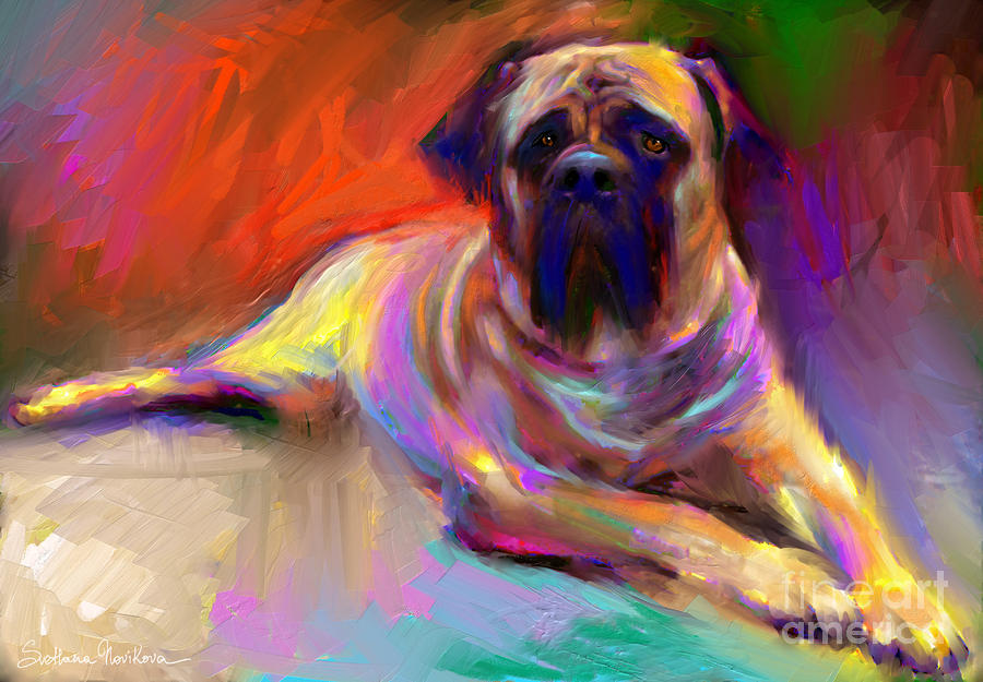 Bullmastiff Dog Painting Painting  - Bullmastiff Dog Painting Fine Art Print