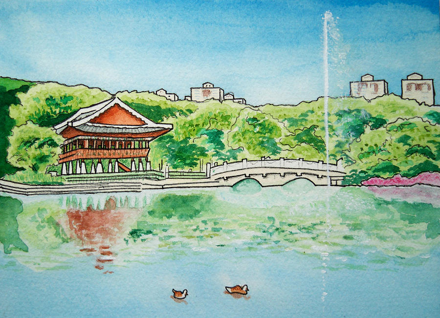Bundang Central Park In Spring I Painting  - Bundang Central Park In Spring I Fine Art Print