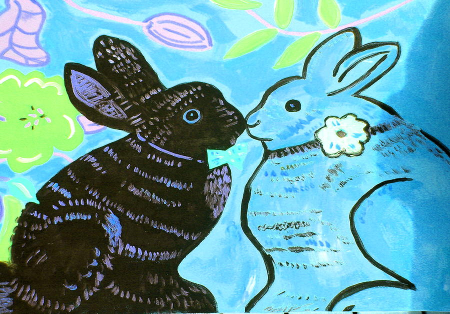 Bunnies In Love Painting  - Bunnies In Love Fine Art Print