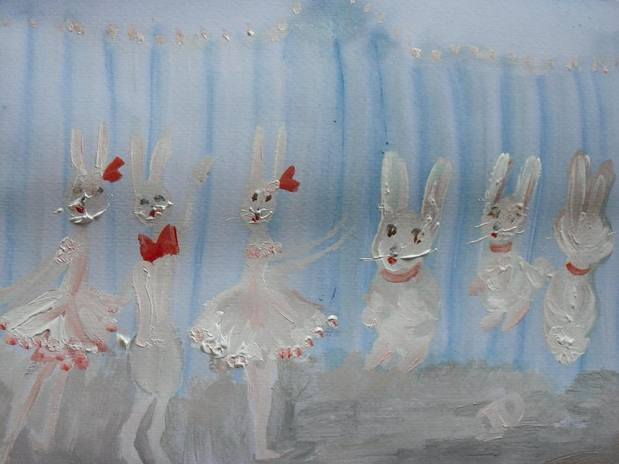Bunny Painting - Bunny Hop Ballet by Judith Desrosiers