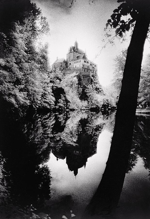Castle; Ghostly; Reflection; Architecture; Tree Photograph - Burg Kriebstein by Simon Marsden