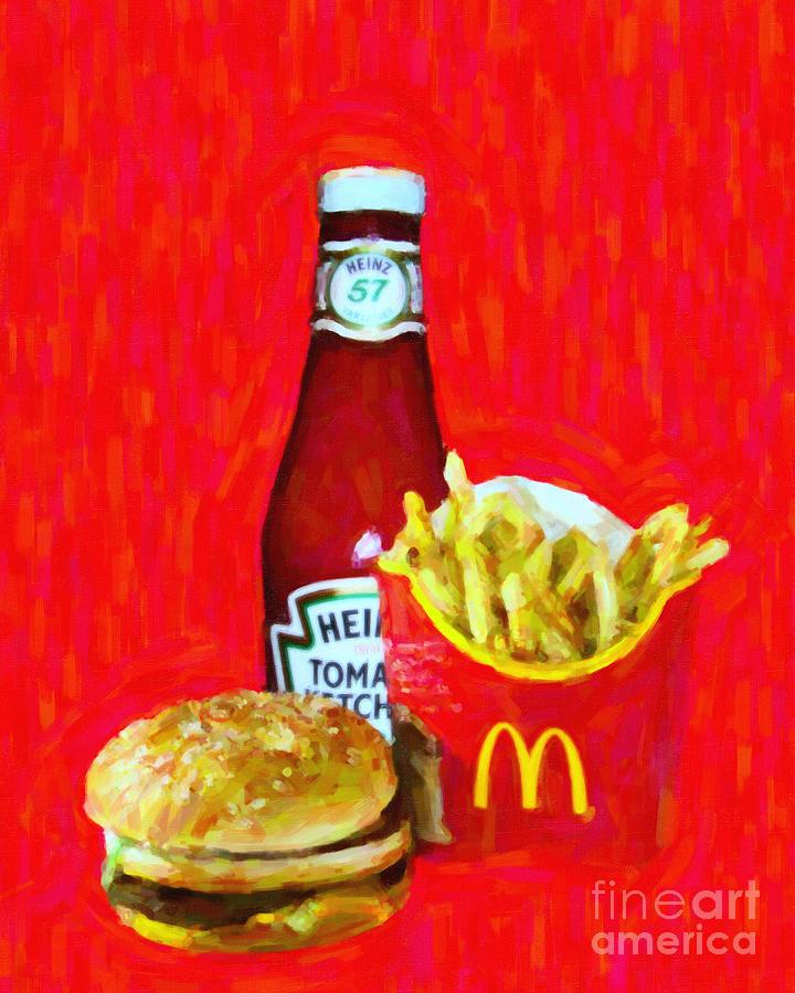 Burger Fries And Ketchup Photograph