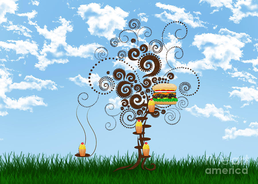 Burger Tree House And The Cupcake Kids  Digital Art  - Burger Tree House And The Cupcake Kids  Fine Art Print