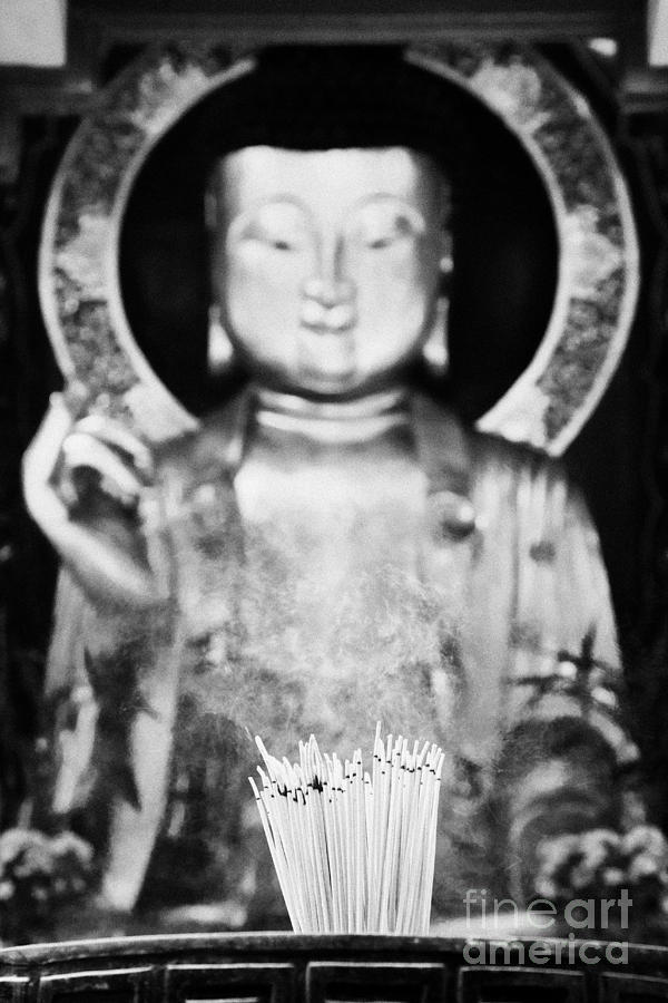 Burning Incense In A Buddhist Temple Sha Tin China Hong Kong Photograph  - Burning Incense In A Buddhist Temple Sha Tin China Hong Kong Fine Art Print