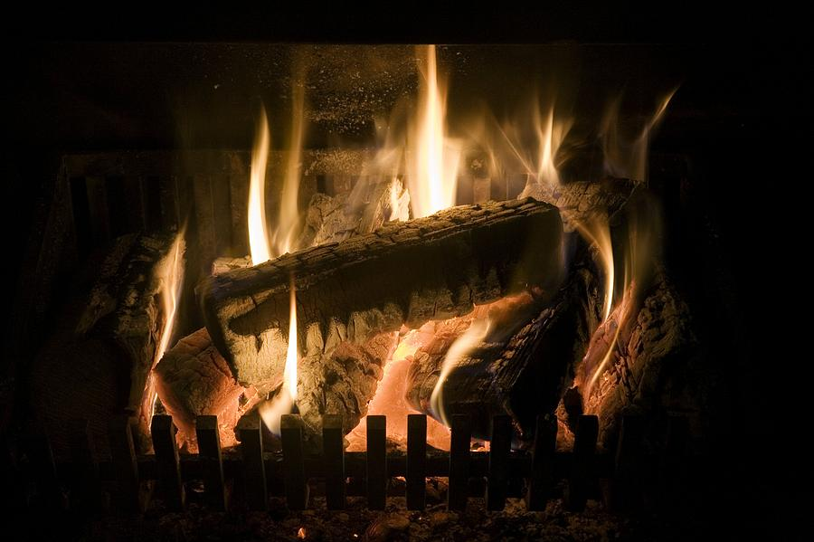 Burning Wood On An Open Fire Photograph