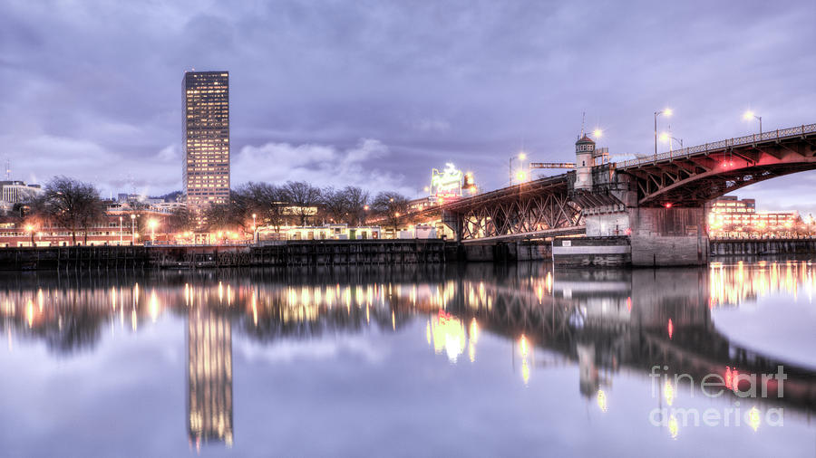 Burnside Bridge Waterfront Portland Oregon Photograph  - Burnside Bridge Waterfront Portland Oregon Fine Art Print