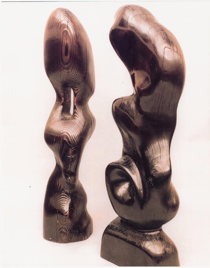 Burnt Sculptures Pair Sculpture