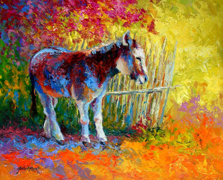 Burro And Bouganvillia Painting  - Burro And Bouganvillia Fine Art Print