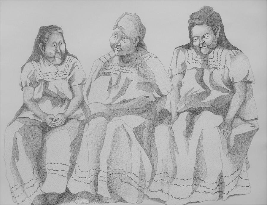 Apache Women Drawing - Bus Stop by Gretchen Price
