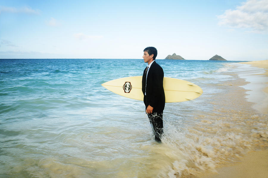 Business Man At The Beach With Surfboard Photograph