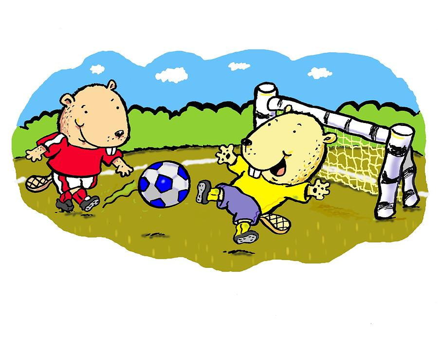 Busy Beaver Soccer Digital Art  - Busy Beaver Soccer Fine Art Print