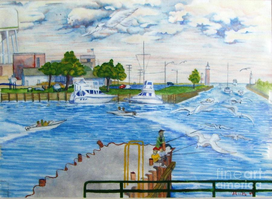 Busy Kenosha Wi. Harbor  Painting  - Busy Kenosha Wi. Harbor  Fine Art Print