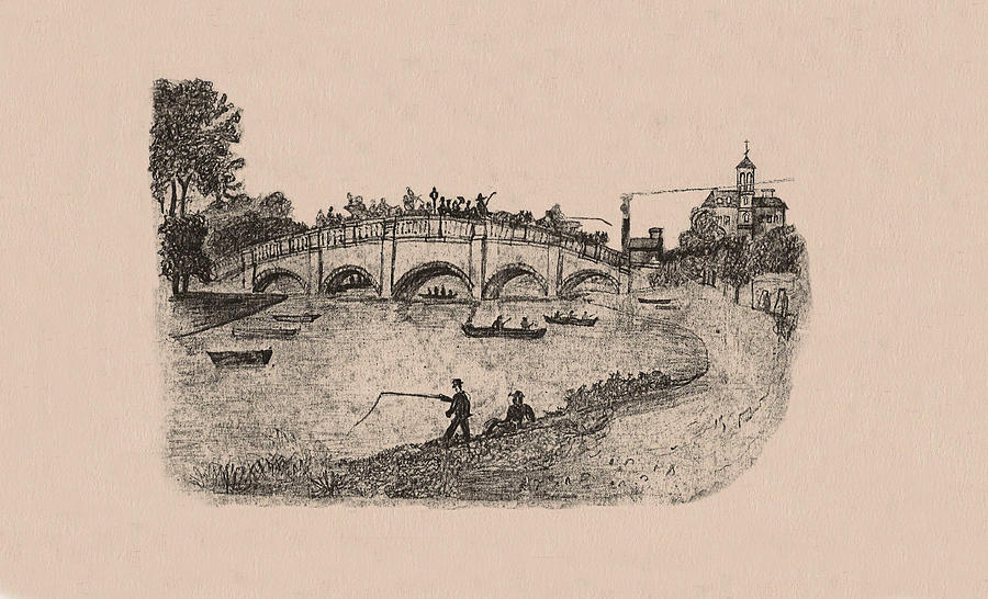 Busy Richmond Bridge And Fishermen Drawing