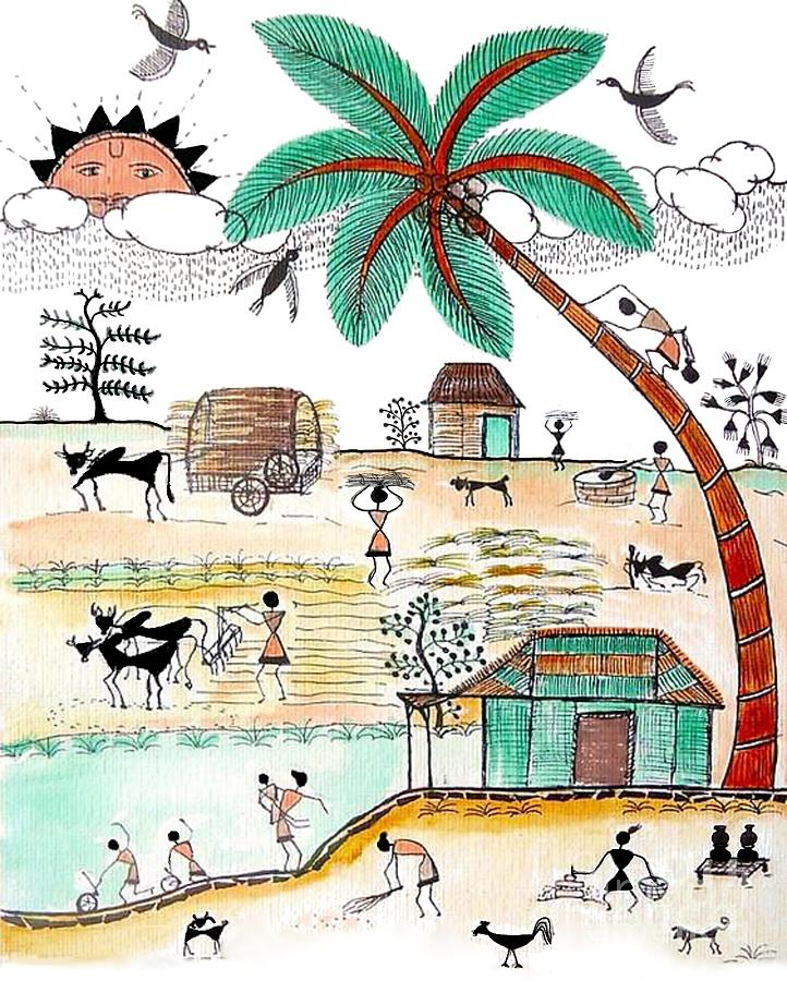 Busy Warli Day Painting