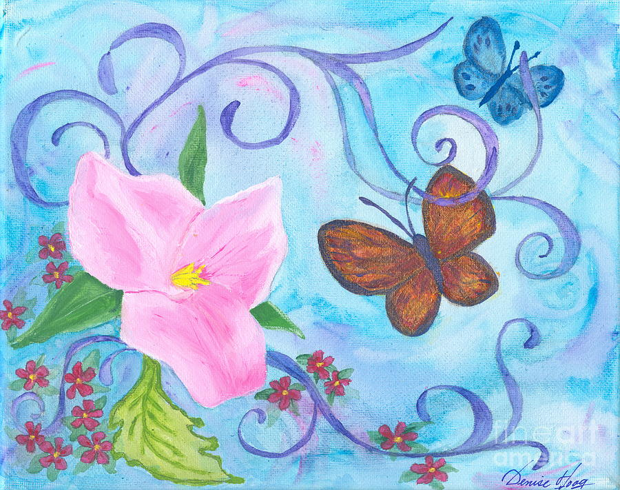 Butterflies And Flowers Painting by Denise Hoag