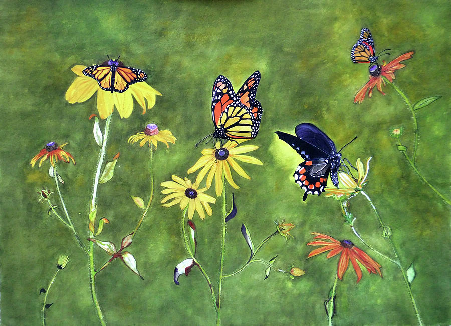 Butterflies And Flowers Painting  - Butterflies And Flowers Fine Art Print
