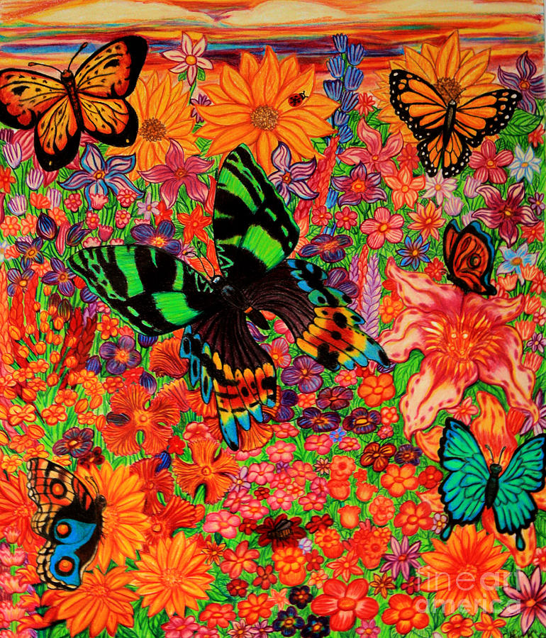 Butterflies And Flowers Drawing  - Butterflies And Flowers Fine Art Print