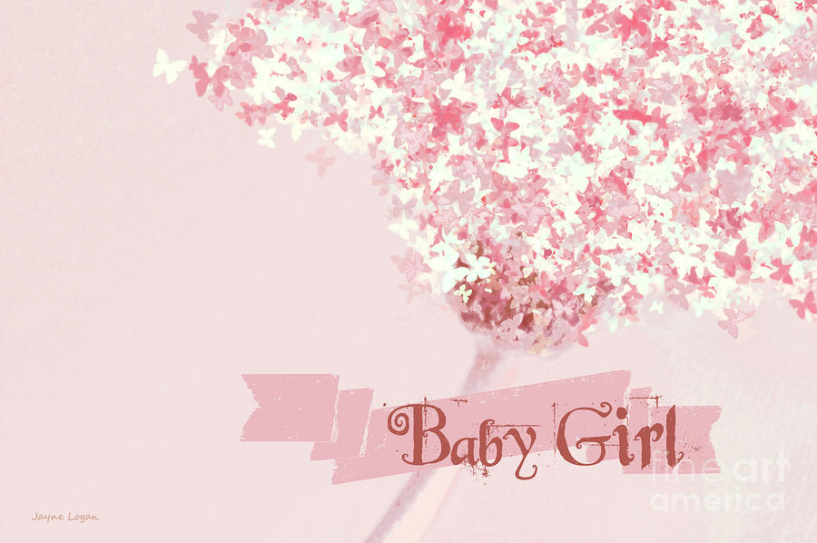 Butterfly Daisy Baby Girl Pink Digital Art  - Butterfly Daisy Baby Girl Pink Fine Art Print