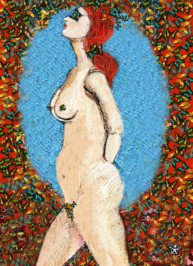 Butterfly Naked Lady Painting  - Butterfly Naked Lady Fine Art Print