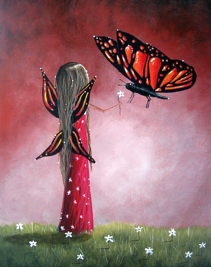 Butterfly Whisperer By Shawna Erback Painting  - Butterfly Whisperer By Shawna Erback Fine Art Print
