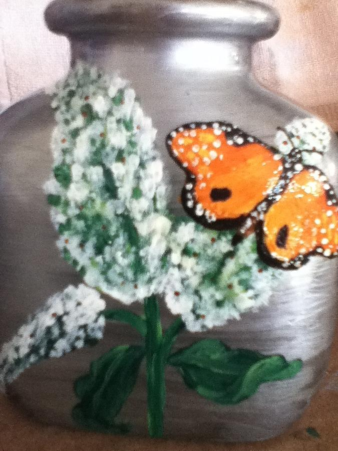 Buttlerfly Flower Miniature Vase Glass Art