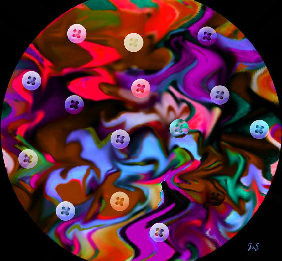 Mixed Media Digital Art - Button Moon by Jan Steadman-Jackson