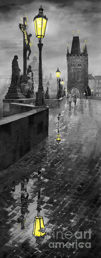 Bw Prague Charles Bridge 01 Painting  - Bw Prague Charles Bridge 01 Fine Art Print