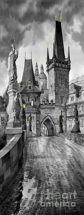 Bw Prague Charles Bridge 02 Painting  - Bw Prague Charles Bridge 02 Fine Art Print