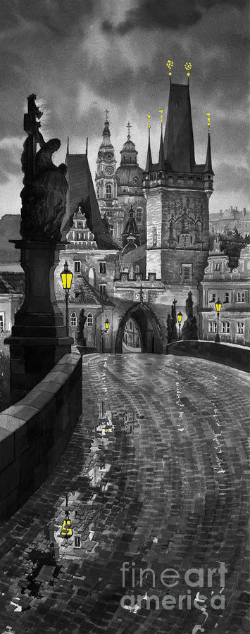 Bw Prague Charles Bridge 03 Painting