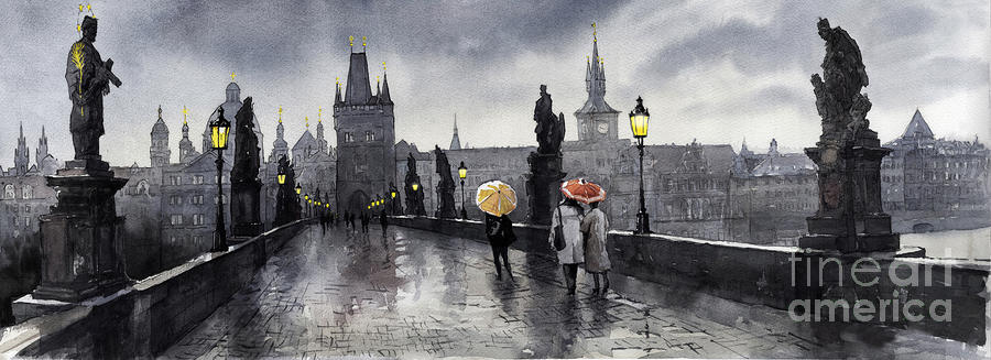 Bw Prague Charles Bridge 05 Painting  - Bw Prague Charles Bridge 05 Fine Art Print