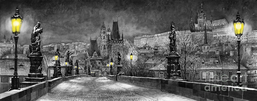 Bw Prague Charles Bridge 06 Painting  - Bw Prague Charles Bridge 06 Fine Art Print