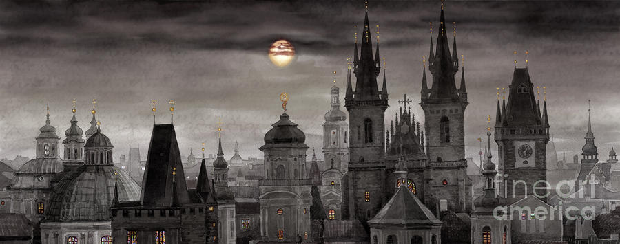 Bw Prague City Of Hundres Spiers Painting  - Bw Prague City Of Hundres Spiers Fine Art Print