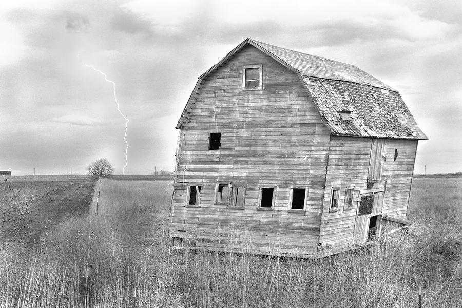 Bw Rustic Barn Lightning Strike Fine Art Photo Photograph