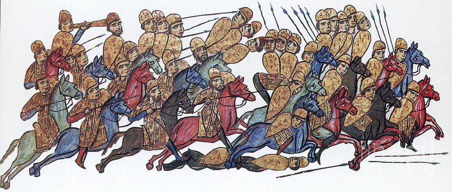 History Photograph - Byzantine Cavalrymen Rout Bulgarians by Photo Researchers