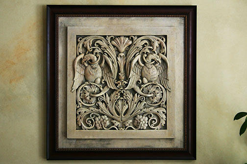 Byzantine Eagles In Floral Motif Wall Plaque Sculpture