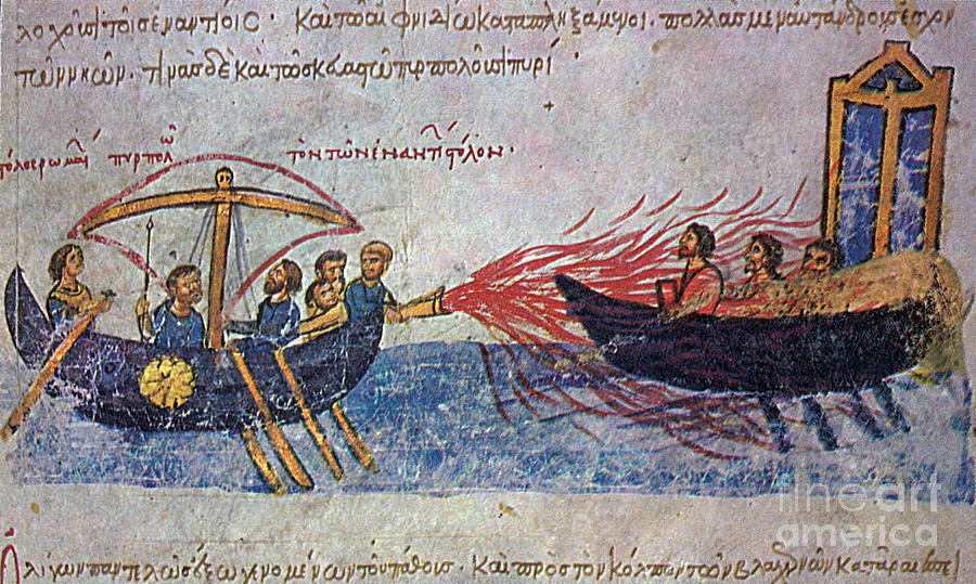 Byzantine Sailors Use Greek Fire On Photograph  - Byzantine Sailors Use Greek Fire On Fine Art Print