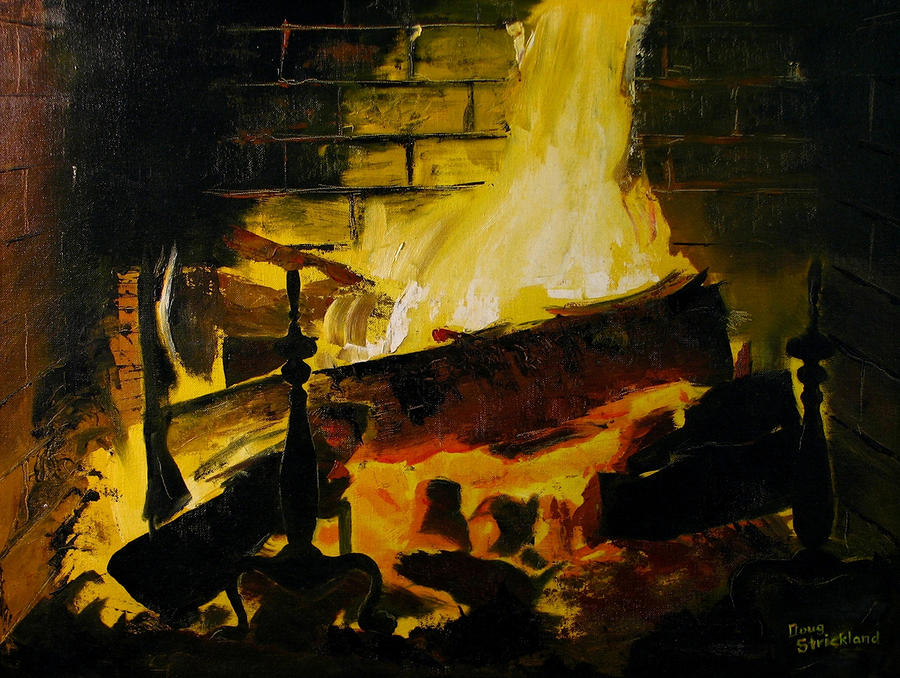 Cabin Fireplace Painting  - Cabin Fireplace Fine Art Print
