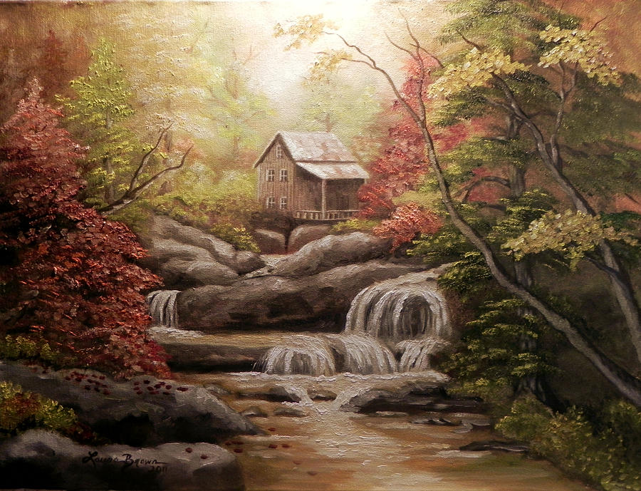 Cabin In The Woods Painting By Laura Brown