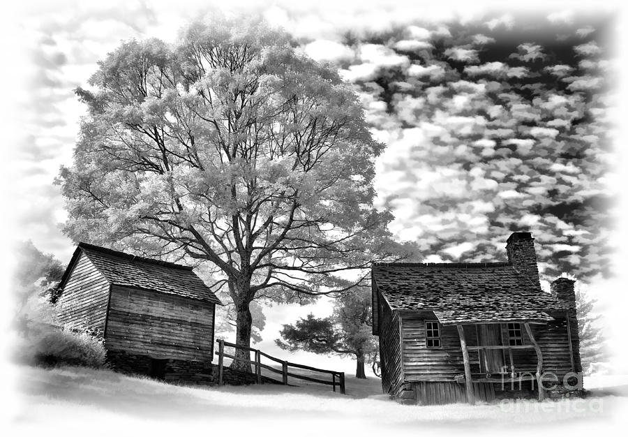 Cabin Under Buttermilk Skies Vignette Photograph  - Cabin Under Buttermilk Skies Vignette Fine Art Print
